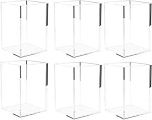 SUNEE Acrylic Pen Holder, 6 Packs Clear Pencil Cup, Desktop Makeup Brush Organizer, for Office, School and Home Stationery Storage