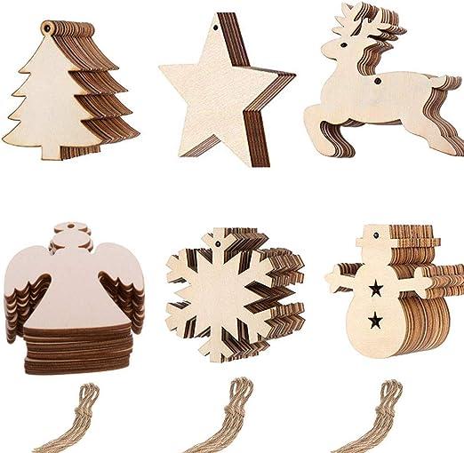 Anyasen Basteln Weihnachten 60 Stücke Weihnachtsanhänger Tannenschmuck Diy Weihnachtsdekoration Holz Scrapbooking Holz Scheiben Holz Elch Schneeflocke