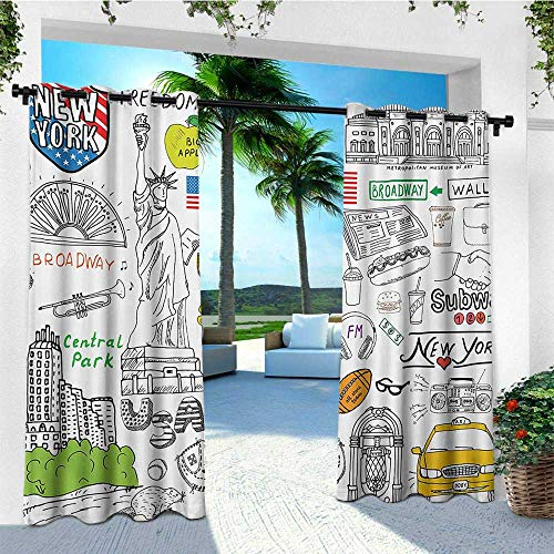 leinuoyi American, Outdoor Curtain Ties, New York City Culture Metropolitan Museum Broadway Crossroad Wall Street Sketch Style, Set for Patio Waterproof W108 x L96 Inch White