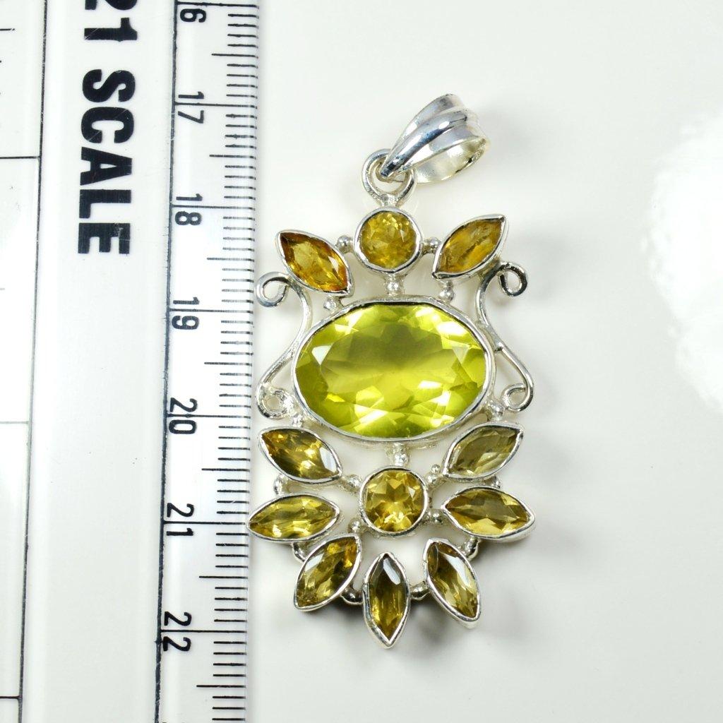Gemsonclick Natural Multi Gemstone Mixed Shape 925 Sterling Silver Pendant MSP-163