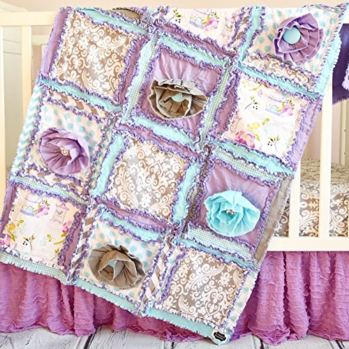 Floral Baby Girl Crib Quilt - Purple / Aqua / Gray - QUILT ONLY by A Vision to Remember