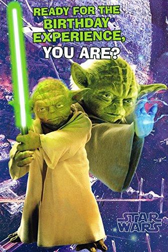 Amazon Com Star Wars Yoda Birthday Card Includes Galactic 3d