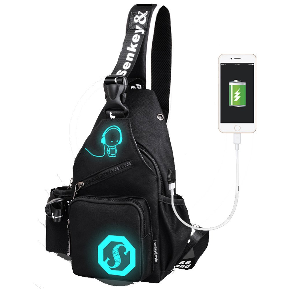 LOVE(TM)Anime Luminous Backpack with USB Charging Port Chest Bag Sports Casual Canvas Shoulder Bag Crossbody Bag Lightweight Hiking Travel Backpack Daypack for Men Women