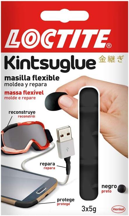 Loctite 2239182 Kintsuglue, flexible negra para reparar, reconstruir y proteger objetos, masilla moldeable, adhesivo impermeable y removible, 3 x 5 g