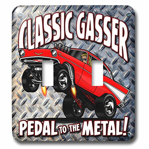 (3dRose lsp_173481_2 1957 Chev Classic Gasser Illustration, on a Diamond Plate Background Light Switch Cover )