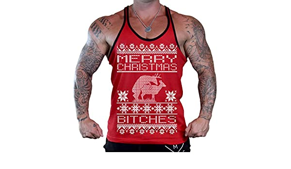 Mens Merry Christmas Bitches Tee Red Tank Top Red