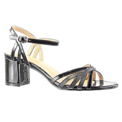 0b41875f8 Angkorly - Women's Fashion Shoes Sandals Mules - snakeskin - thong - multi  straps Block high