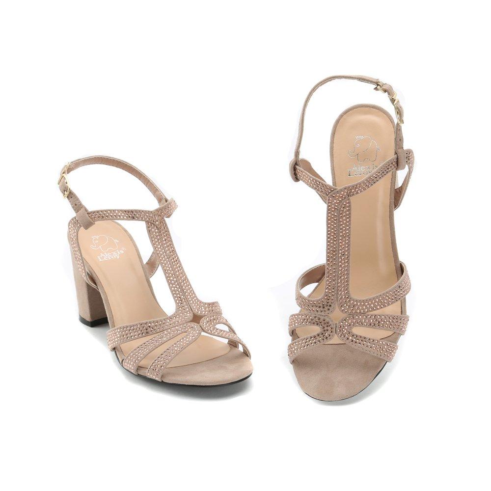 a01dc3399dc5dd Alexis Leroy Chaussures Style Salomé avec Bride Cheville Sandales à Talon  carré Femme
