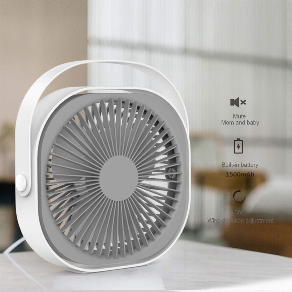 Desk Personal Fan, 7inch USB Portable Fan Rechargeable 1500mAh Three-Speed Wind for Home, Office and Car White