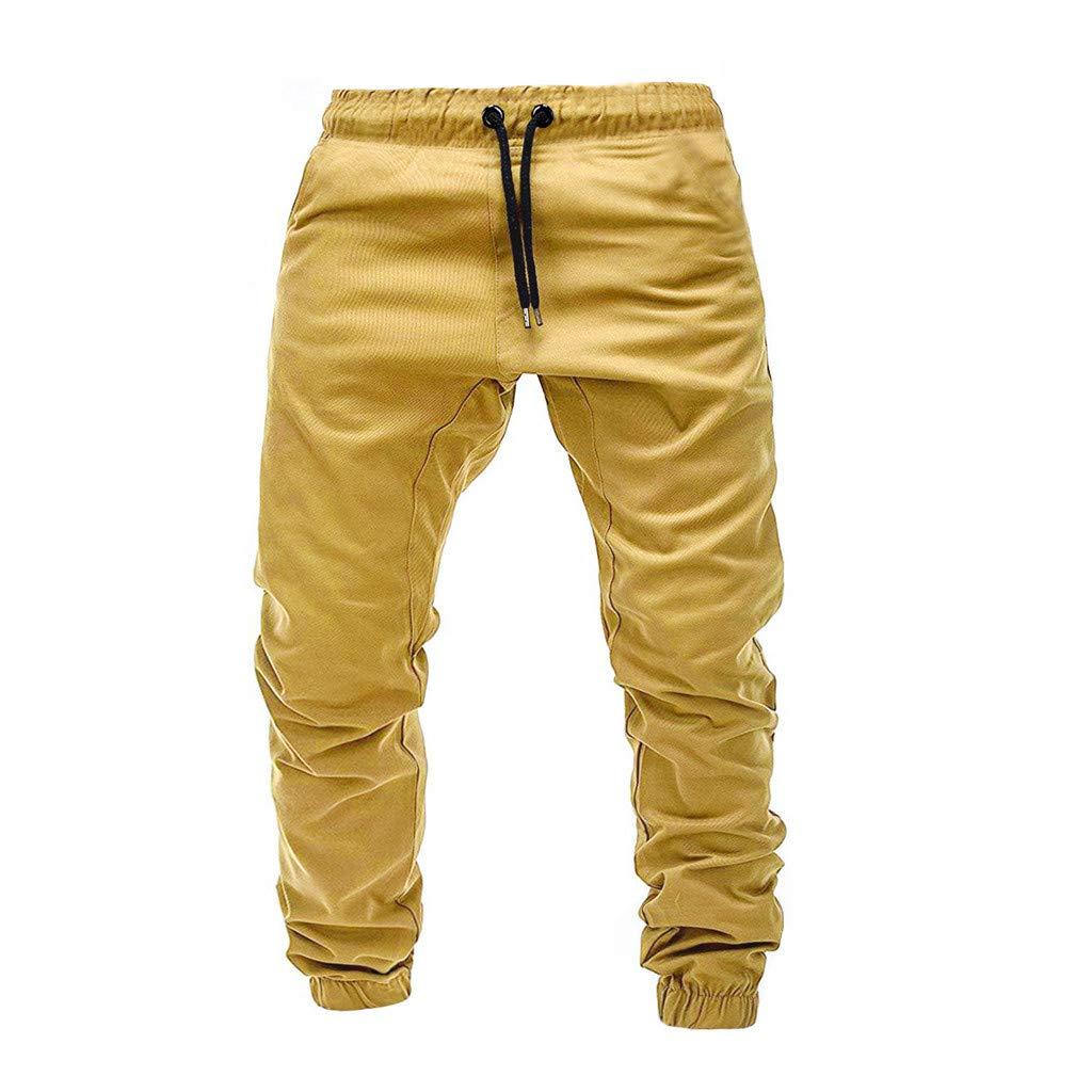 beautyjourney Pantalones de ch/ándal para Hombre Pantalones de Entrenamiento Leggings el/ásticos Casuales Pantalones de Tela China Pantalones de Deporte al Aire Libre Holgados de Color s/ólido