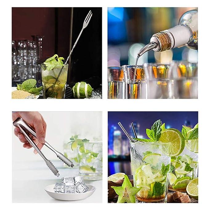 Kit de camarero de 12 piezas con soporte | Set de coctelera de ...