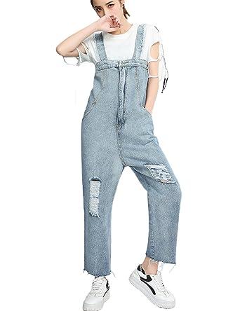 498ec1e431f SUGIRLS Women s Casual Bib Overalls Distressed Boyfriend Straight Leg Denim  Jumpsuit Pants with Pockets L