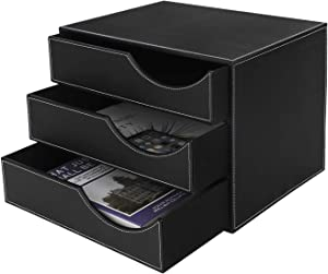 Drawer Organizers File Letter Mail Paper Holder 3-Drawer Leatherette Office Filing Document Cabinet Drawer Box Desktop Organizer Files Cabinet Office Supplies Desk Storage Jewelry Organizer Box