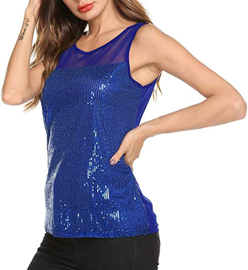 Dainzuy Womens Sleeveless Sequin Tank Top Casual Sparkly Shimmer Camisole Vest Blouse Glitter Evening Party Shirt