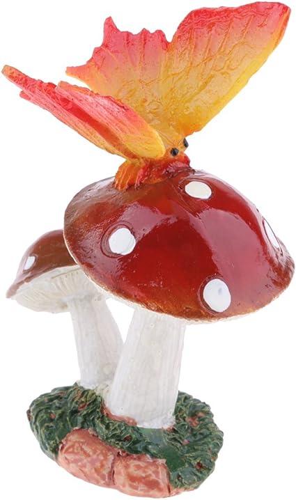 D DOLITY Ornamento de Patio Miniaturas de Setas Decorativas de Jardín Estatuas de Deco - Mariposa Rojo Seta: Amazon.es: Jardín