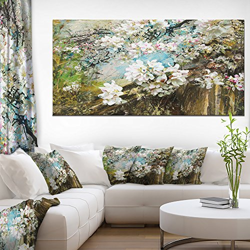 Designart Apple Blossoms with White Flowers Canvas Artwork 28'' x 60'' x 2''