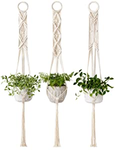 Mkono Macrame Plant Hanger Set of 3 Indoor Wall Hanging Planter Basket Flower Pot Holder Boho Home Decor, 39 Inch