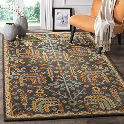 Safavieh Heritage Collection HG409A Charcoal Grey and Multi Area Rug (4' x 6') ()