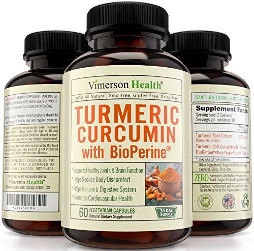 Curcumine du curcuma avec Bioperine anti-inflammatoire, antioxydant & supplément anti-âge au poivre noir pour une meilleure Absorption. Soulagement de douleurs articulaires de prime. Toutes naturelles & Non-OGM