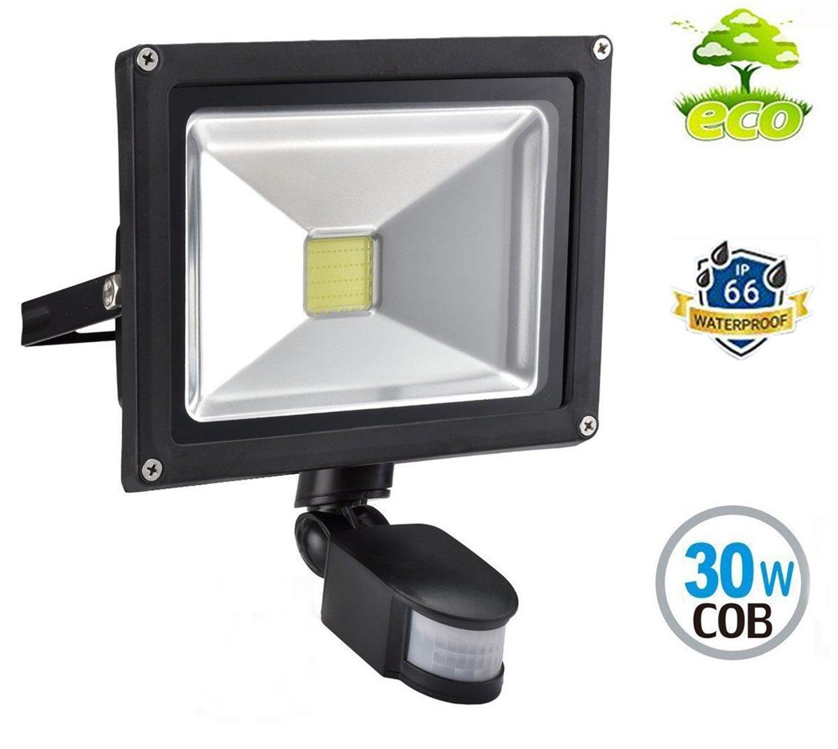 LED Strahler mit Bewegungsmelder Außen 10W Fluter 3000K Warmweiß Außenleuchte IP66 Wasserdicht Scheinwerfer für Garten, Garage, Hotel (Mit keinem Stecker) W-LITE