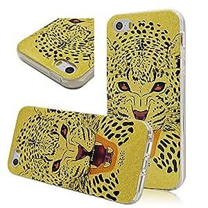 Seedan Premium Flexible Gel Back Case for iPhone 5 5S Yellow Leopard Head Rubberized TPU Smooth Skin Protector