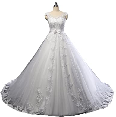 mxgirls Appliques Ballkleid Brautkleid mit Schärpe Bogen elegante ...