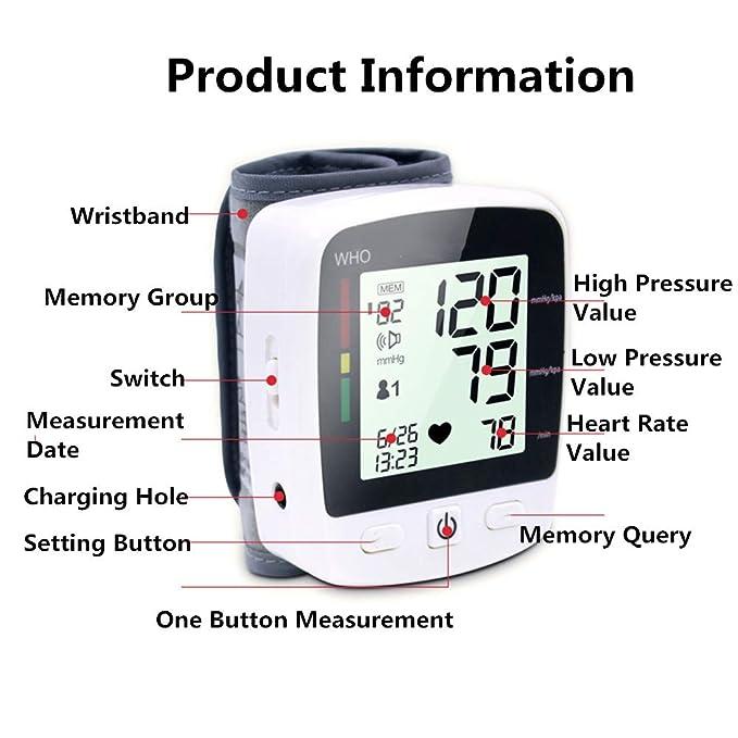 Automático De La Muñeca Tensiómetro LED Pantalla Grande Presión Arterial Monitores Medición USB Carga De Voz Medidor Portátil Instrumento: Amazon.es: Hogar
