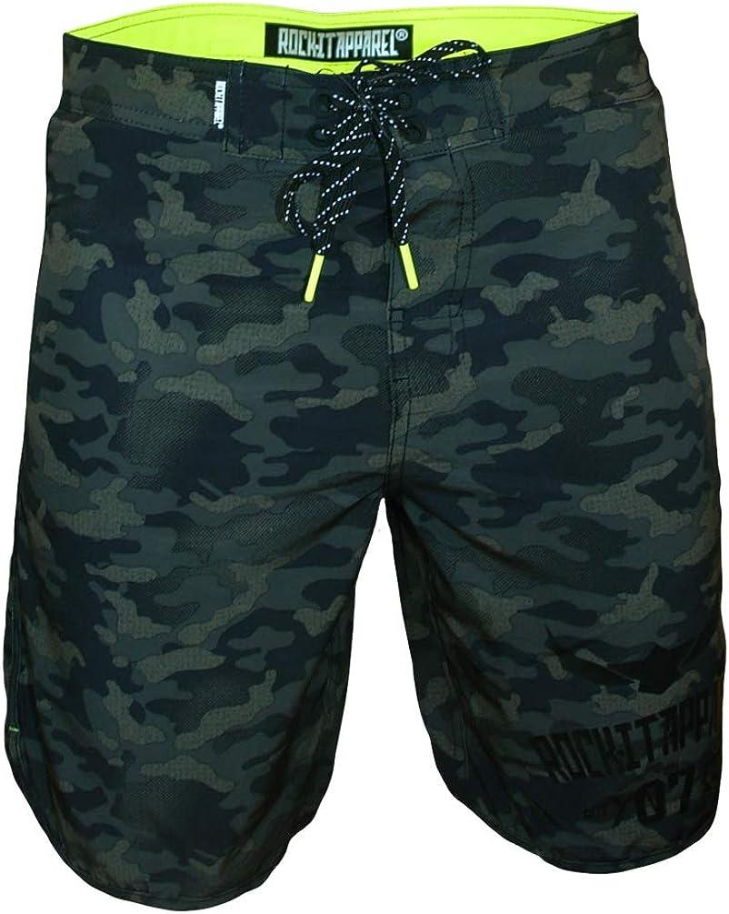 Secado rapido Boardshorts ba/ñadores Cortos en Tallas S-3XL Camo Green ROCK-IT Apparel/® Ba/ñadores con Camuflaje para Hombres