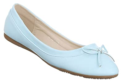 Damen Ballerina Schuhe Slipper Flat Kunstleder Halbschuhe