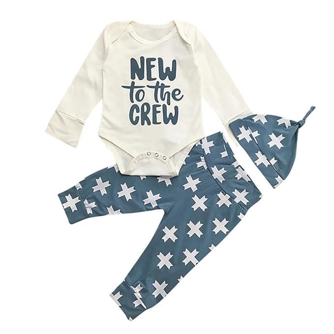 1c40c4d0a Hatoys 3PCS Newborn Toddler Baby Boys Girls Letter Print Romper Jumpsuit +  Striped Pants + Hat