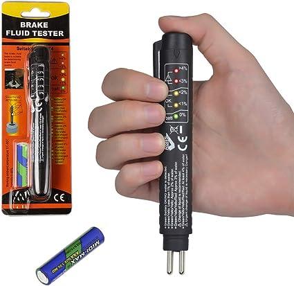 L/íquido de frenos Tester Pen con 5 mini indicadores LED/para reparaciones de coches Herramienta de prueba de freno para DOT4