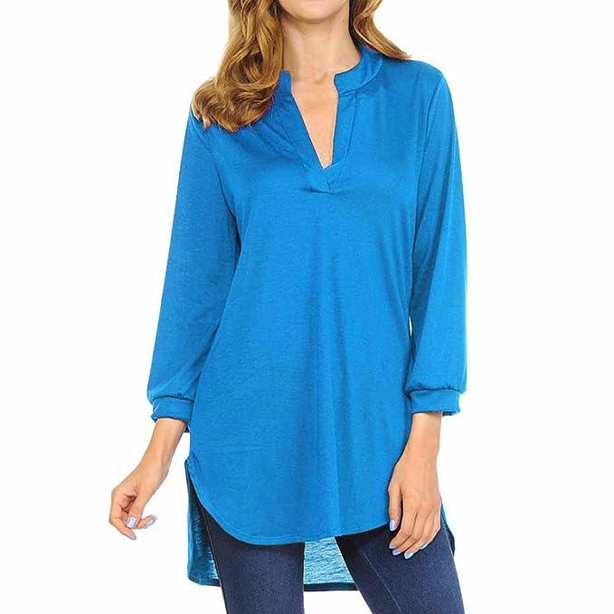 Lenfesh Elegante Camisa de Algodón Cuello en V para Mujer Camiseta Larga de Tops de Moda