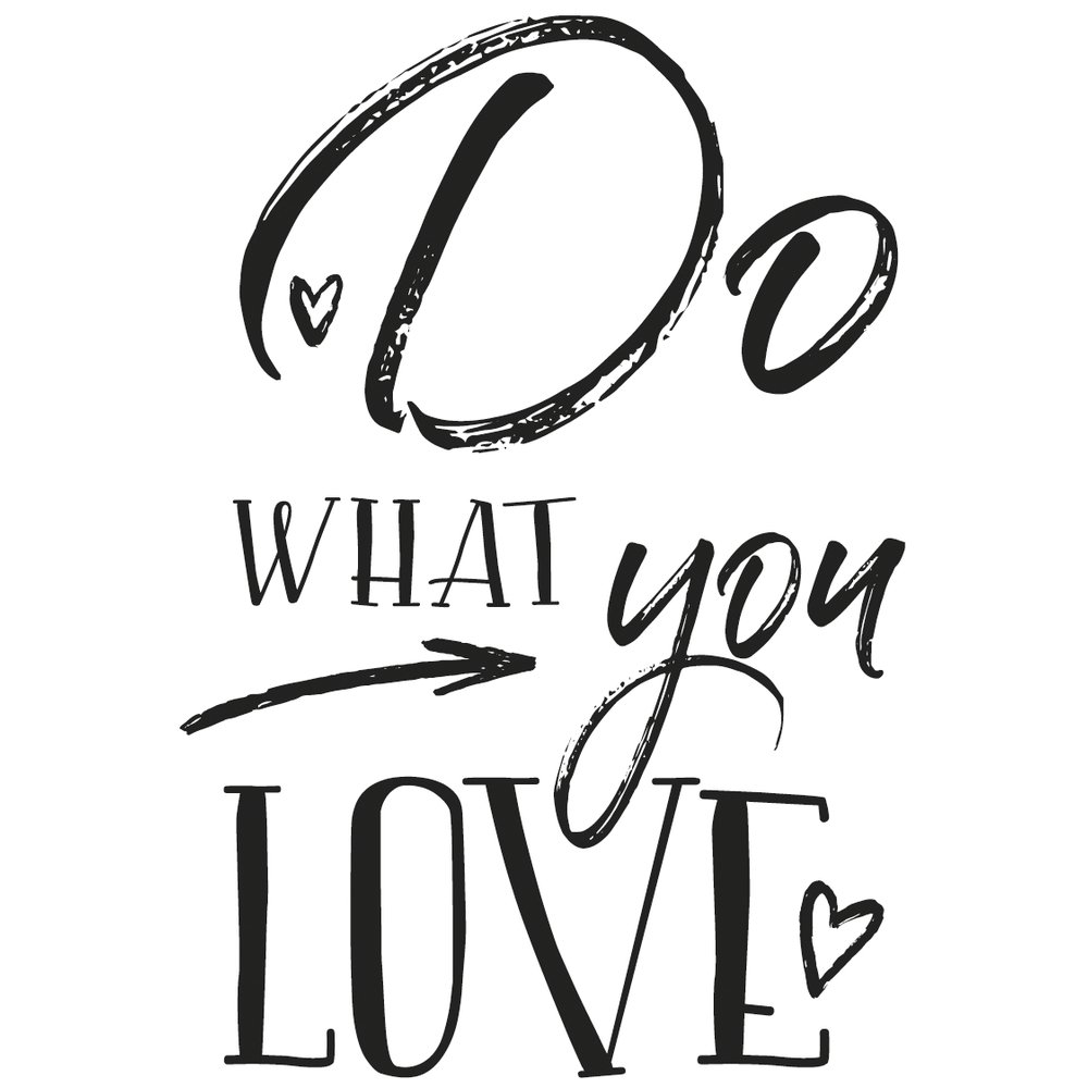 Rayher 29106000 Wood Mounted Rubber Stamp Featuring The Phrase Do What You Love, Stamps for Crafting, Card Making and Scrapbooking, 7cm x 10cm