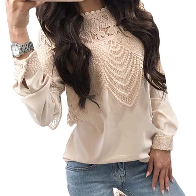 Moda Mujer Verano Suelta Gasa Ocasional de Manga Larga de Encaje Camiseta Tops Blusa S-XL: Amazon.es: Ropa y accesorios