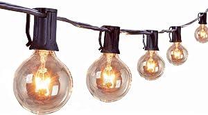 Outdoor String Lights 25 Ft 27 Pcs G40 Edison Bulbs Backyard Patio Lights for Pergola Balcony Gazebo Porch Wedding Party