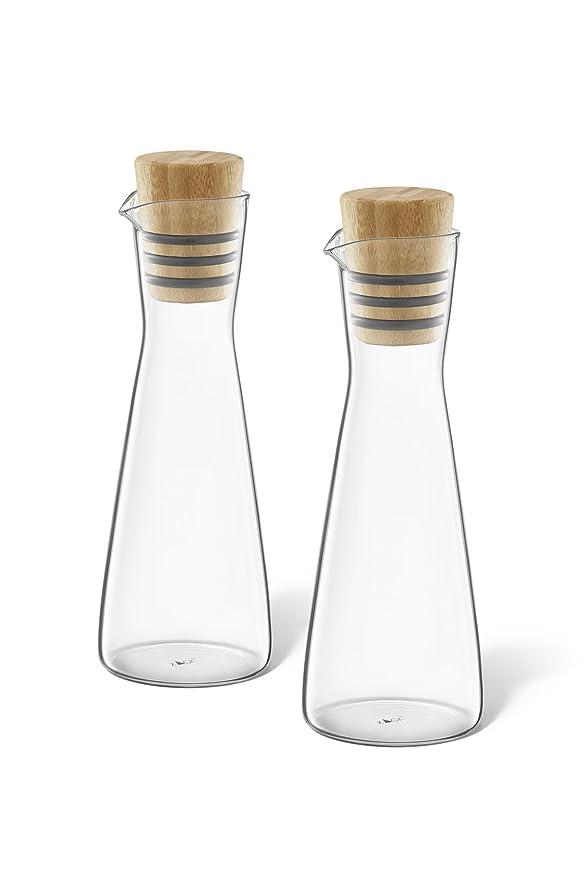ZACK 20876 BEVO Essig-// und /Ölflaschen Set Glas und ge/öltem Bambus