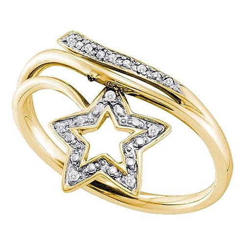 10 K Blanco Oro Diamante Estrella Cruz más de boda ...
