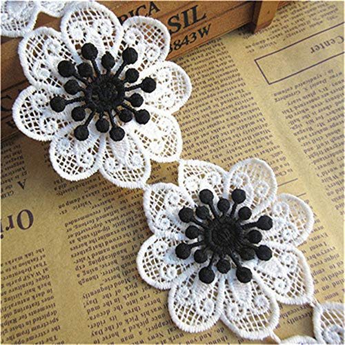 5pcs Flower Lace Edge Trim Ribbon with Colored 3D Buds Guipure Floral 7cm/ 2.8inches Width Vintage Style Edging Trimmings Fabric Embroidered Applique Sewing Craft Dress Decor (White and Black) Black And White Flower Fabric