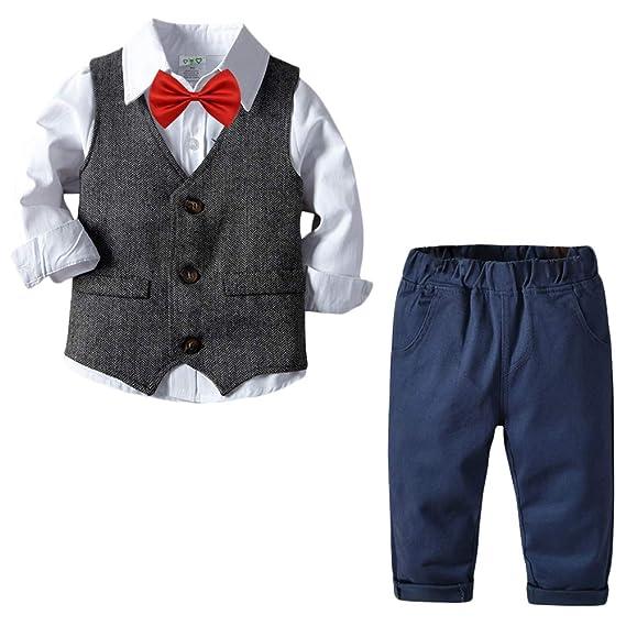 Bebé Niño Conjunto Gentleman Ropa Traje de 4 Piezas Bowtie Camisa ...