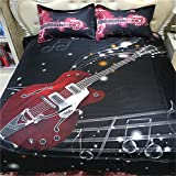 3D Oil Painting Music Noted Duvet Cover,Queen Size 4 Piece Bedding Sets by FG