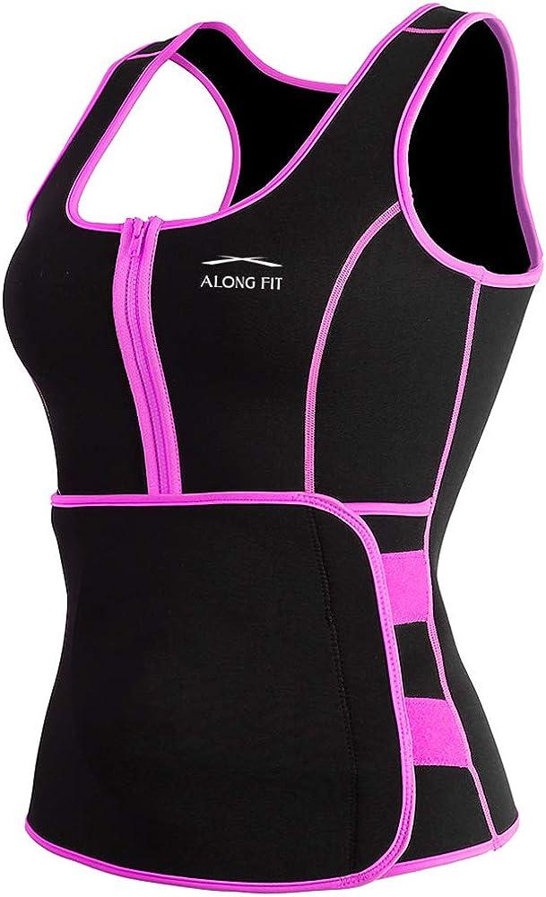 ALONG FIT Schwei/ß Sauna Weste f/ür Frauen Taille Trainer Korsett Fitness Gewichtsverlust Neopren Body Shaper