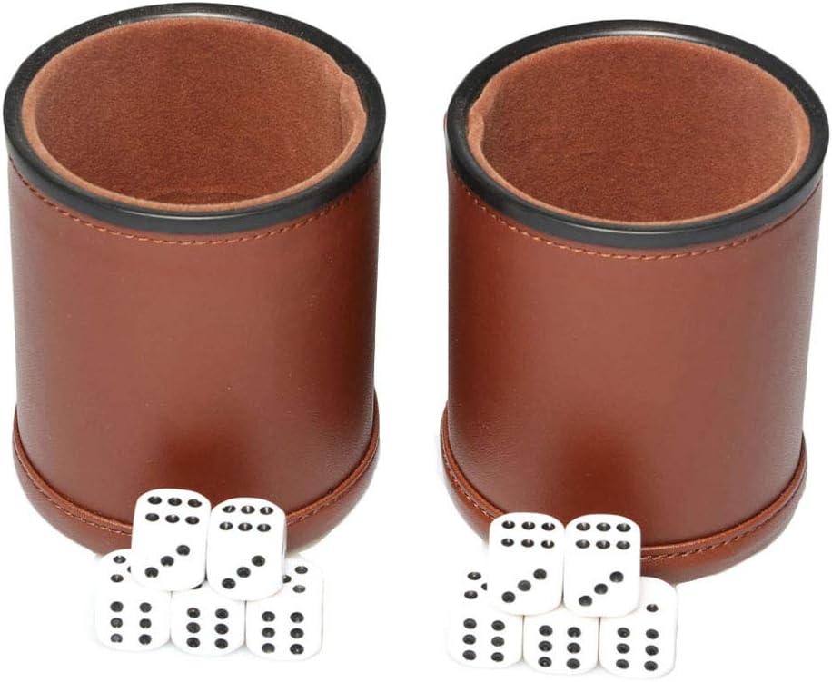2 Pack Dercona Dice Shaker Cup Handmade Genuine Leather For Poker Liars Dice Farkle Yahtzee Games