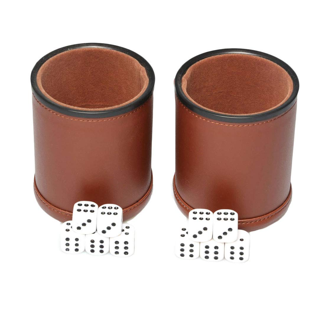 Leather Dice Cup Set Felt Lining Quiet Shaker with 5 Dot Dices for Farkle Yahtzee Games,2 Pack (Brown) by RERIVER