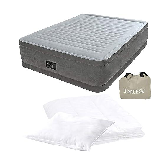 Ventaja Pack cama de aire Intex Promo Pack Incluye Edredón, almohada y bomba de aire integrada | Intex Colchón inflable (203 x 152 x 46 cm, Techo 135 ...