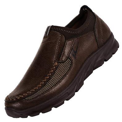 Zapatos Hombre Casuales,Zapatos de Cuero Casual de los Hombres Zapatos Planos Hombre Oxford Vestido Mocasines Zapatos de Negocios Hechos a Mano Mocasines de ...