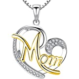 Peora Silver Tone Hollow Personality Charmed Love Heart Mom Pendant Necklace for Girls Women