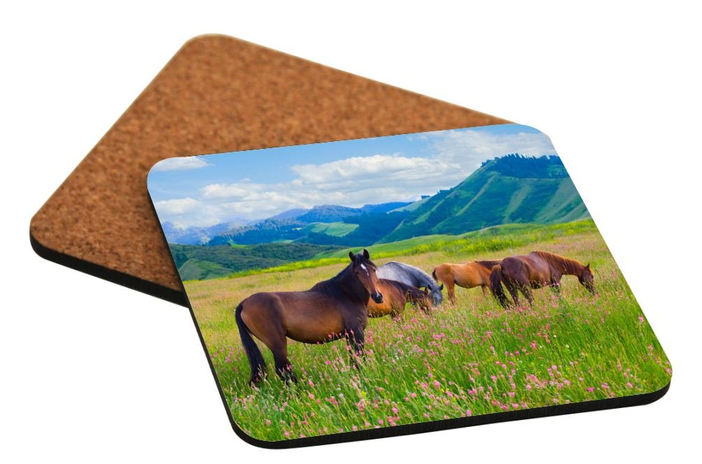 Rikki Knight Horses Grazing on Meadow Design Square Beer Coasters