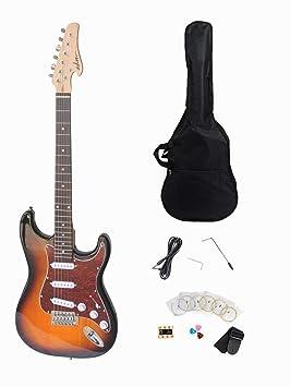 ADM tamaño completo estándar Strat paquete de guitarra eléctrica, sunburst acabado con metálico vino rojo celuloide Golpeador: Amazon.es: Instrumentos ...
