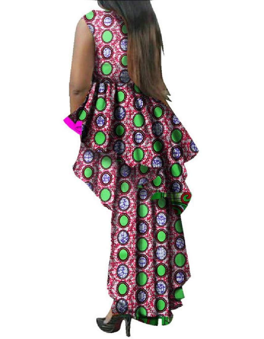 Women's Flouncing Dovetail African Print Dashiki Elegant Party Dress 1 6XL by Doufine--women clothes (Image #2)