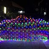 Joomer 12ft x 5ft 360 LED Christmas Net Lights,8 Modes Low Voltage Mesh Fairy String Lights for Christmas Trees, Bushes, Wedding, Garden, Outdoor Decorations (Transparent Wire)(Multicolor)